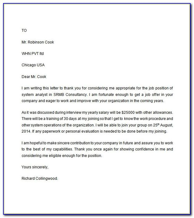 Sample Job Offer Letter Template Uk Free