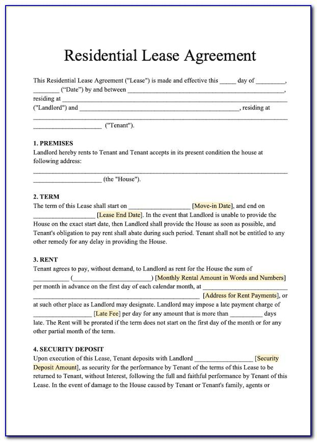 Sample Residential Lease Agreement Filled Out