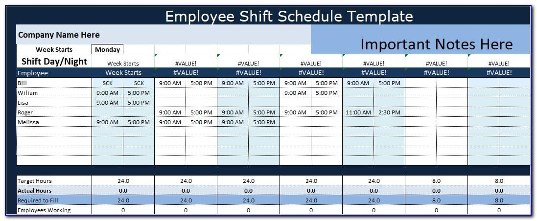 Shift Schedule Excel Template Download