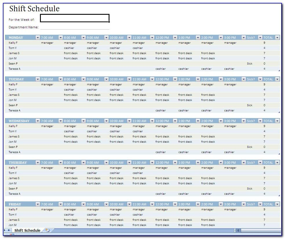 Shift Schedule Excel Template Free