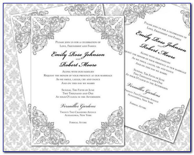 Silver Wedding Invitation Templates Free