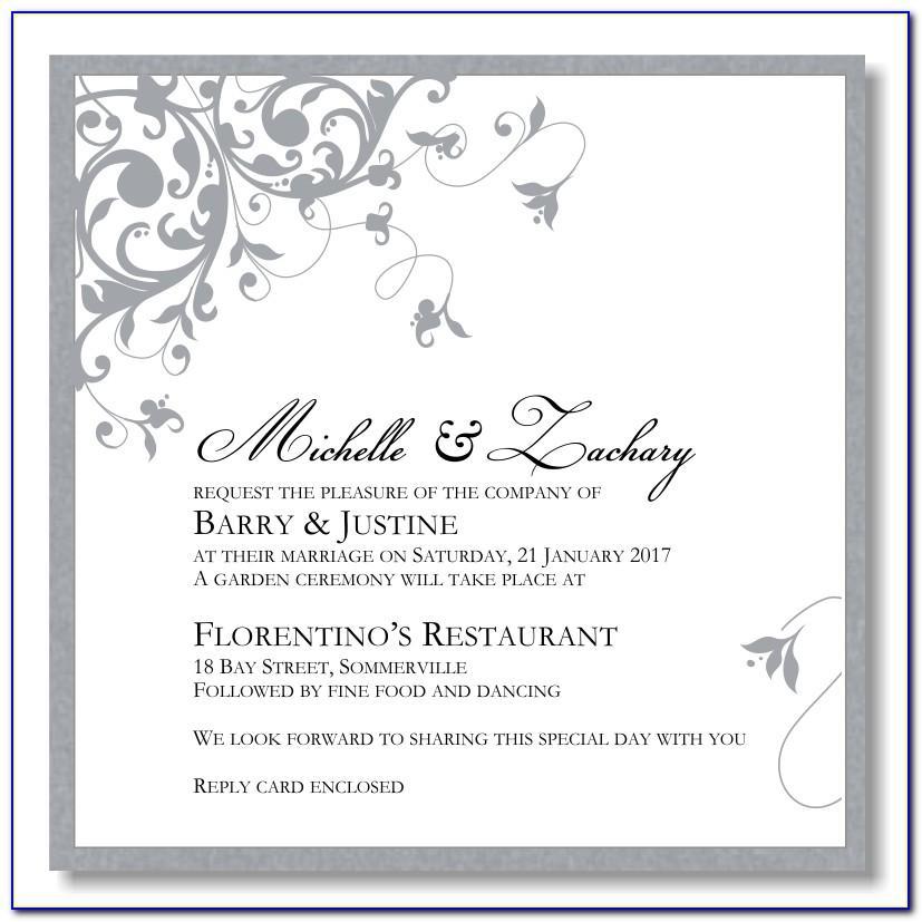 Silver Wedding Invitations Free Templates