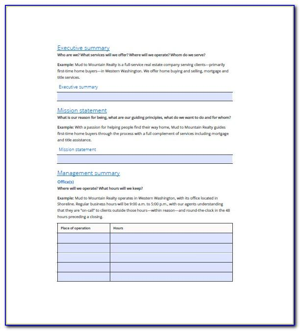 Simple Business Plan Template For Real Estate Agents