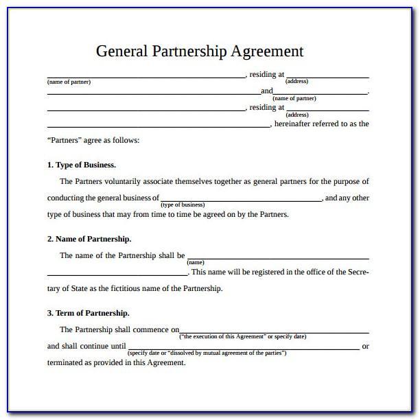 Simple General Partnership Agreement Template