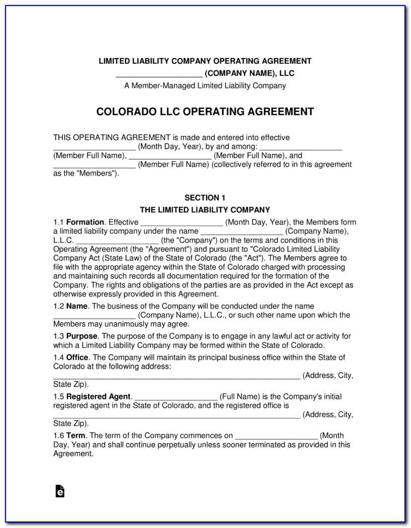 Single Member Llc Operating Agreement Colorado Template