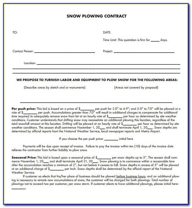 Snow Plow Contract Template Pdf