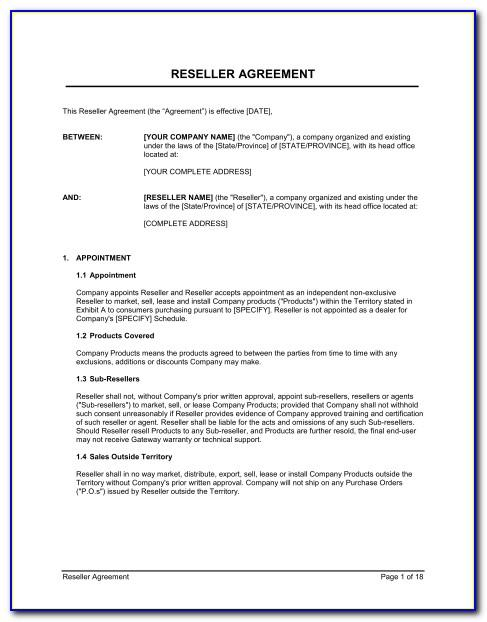 Software As A Service Reseller Agreement Template