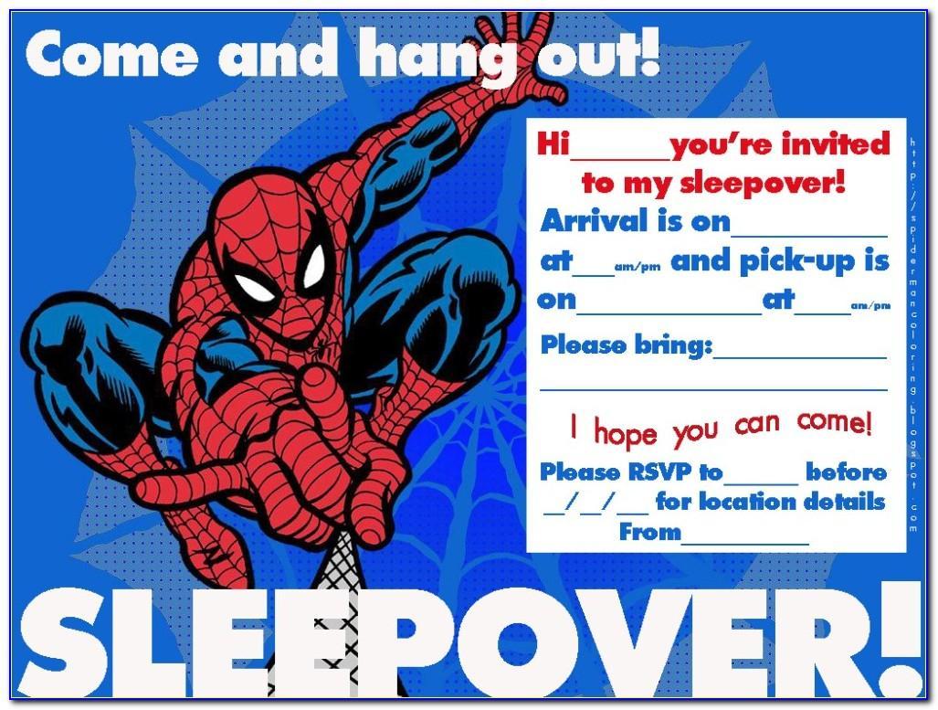 Spiderman Birthday Invitation Card Template