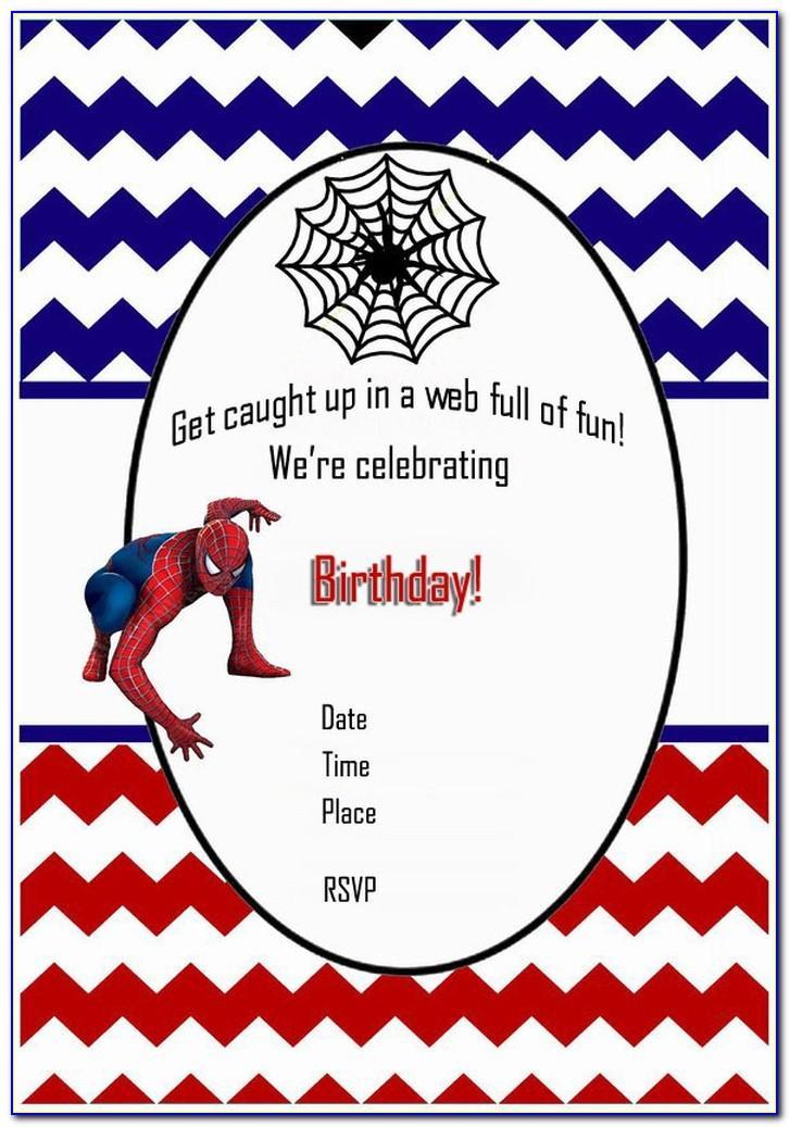 Spiderman Birthday Invitation Layout