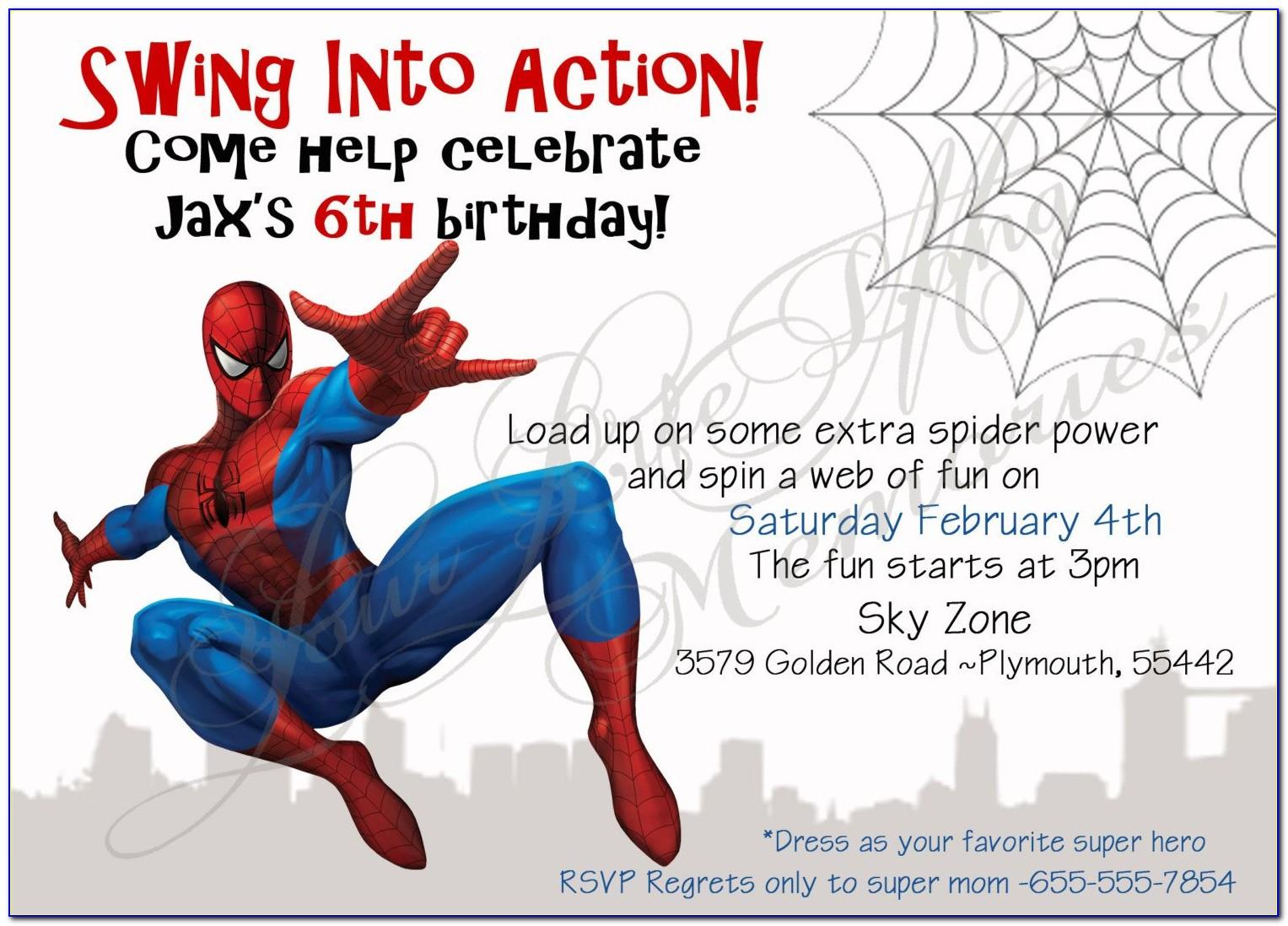 Spiderman Birthday Invitation Template Free Download
