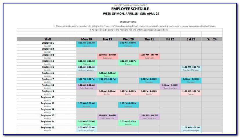 Staff Scheduling Template Excel Free