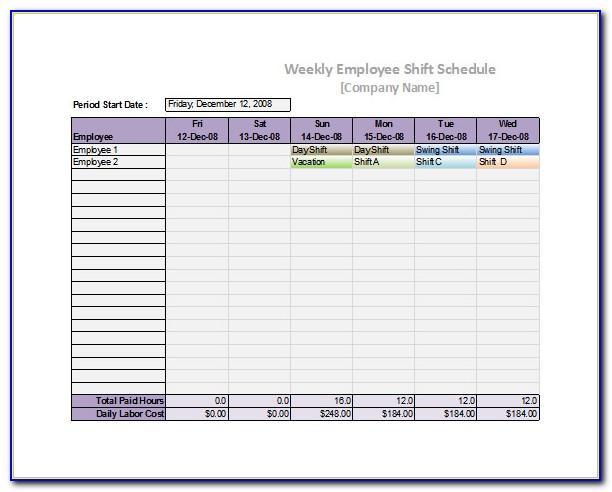 Staffing Calendar Template