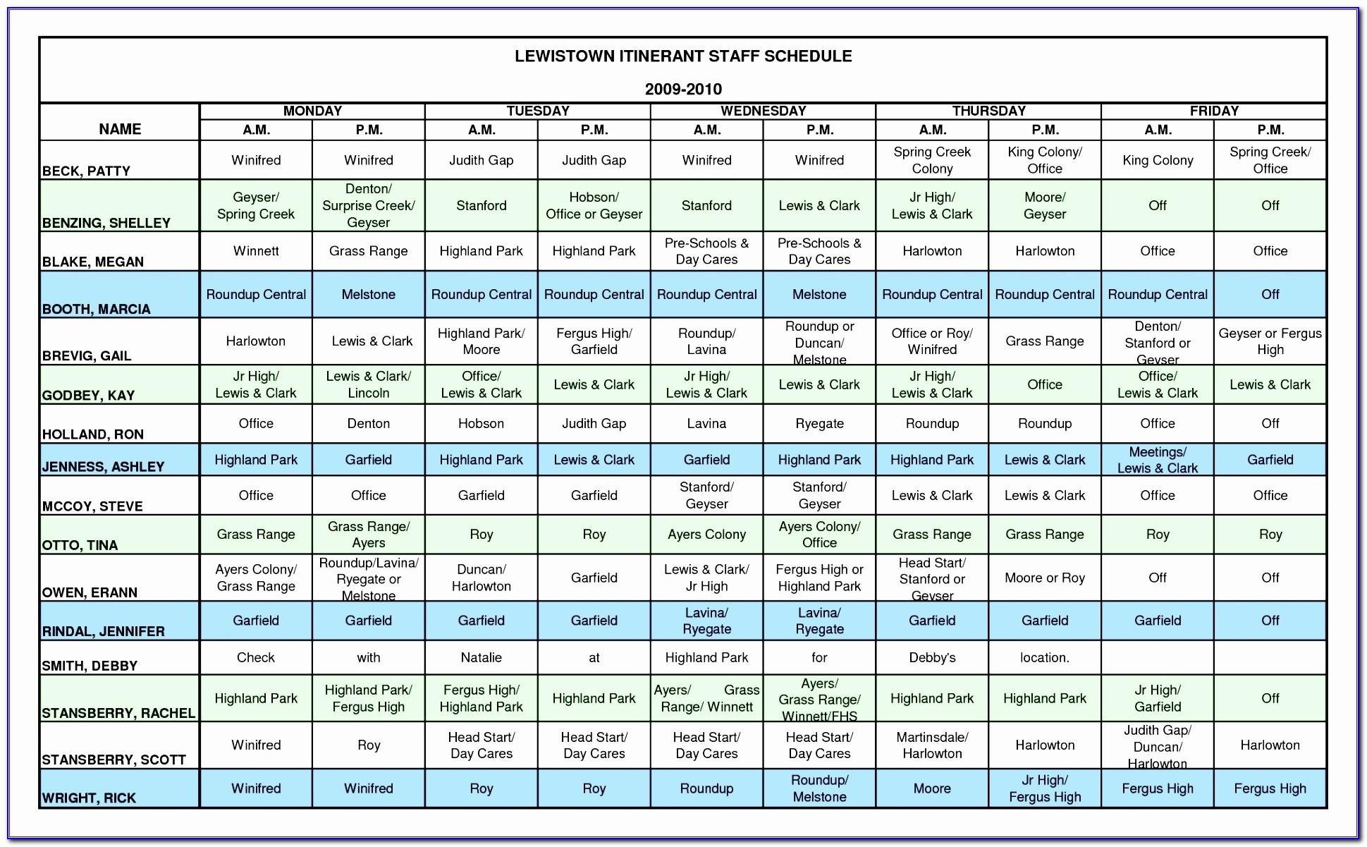 Staffing Schedule Template Excel