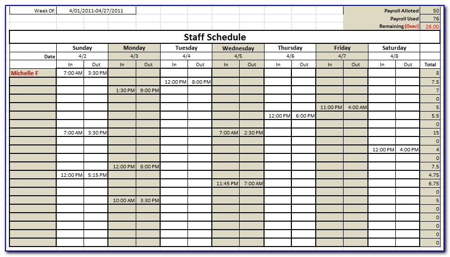 Staffing Schedule Template Free