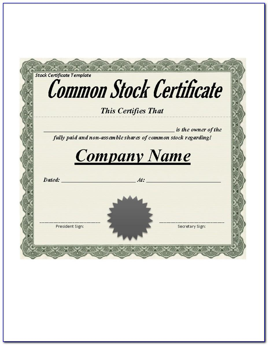 Stock Certificate Template Philippines