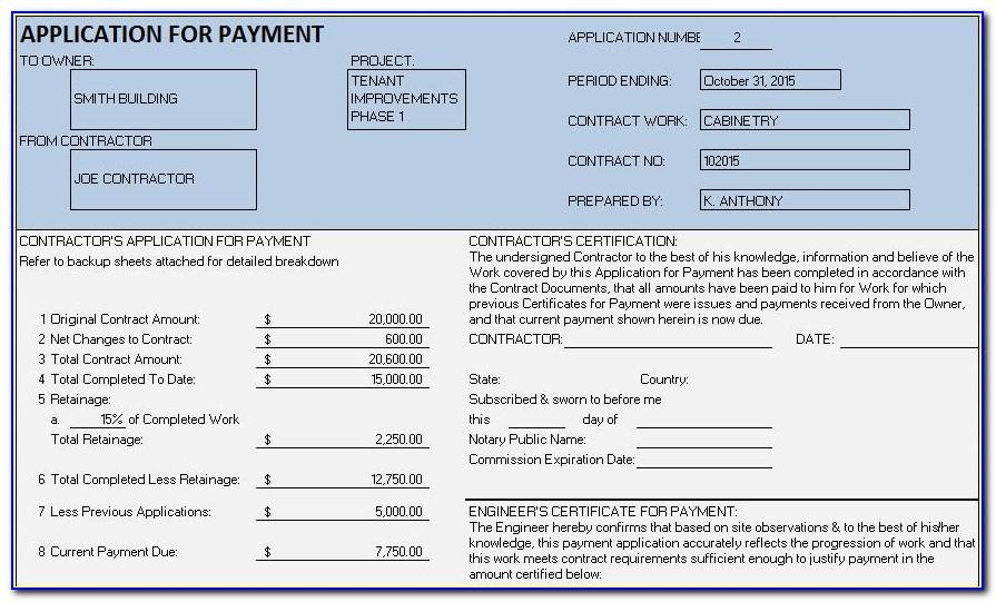 Subcontractor Payment Certificate Template Excel