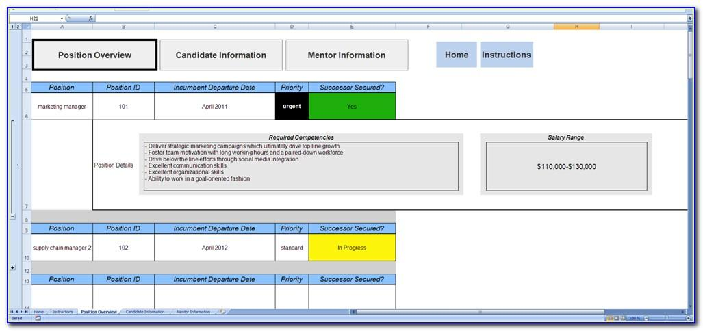Succession Planning Ms Excel Template