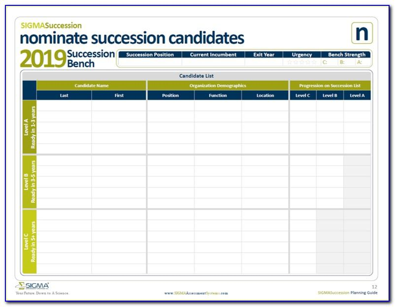 Succession Planning Template For Managers Excel