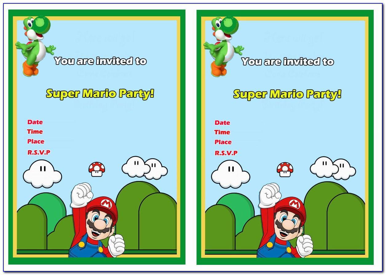 Super Mario Invitation Template Free