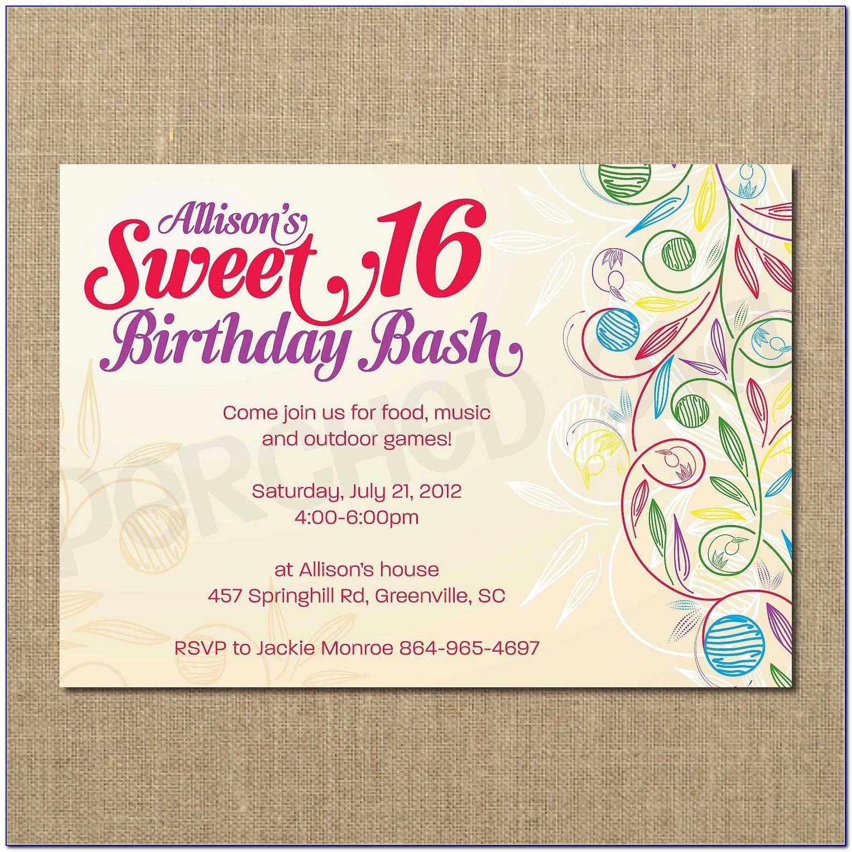 Sweet 16 Birthday Invitation Templates Free