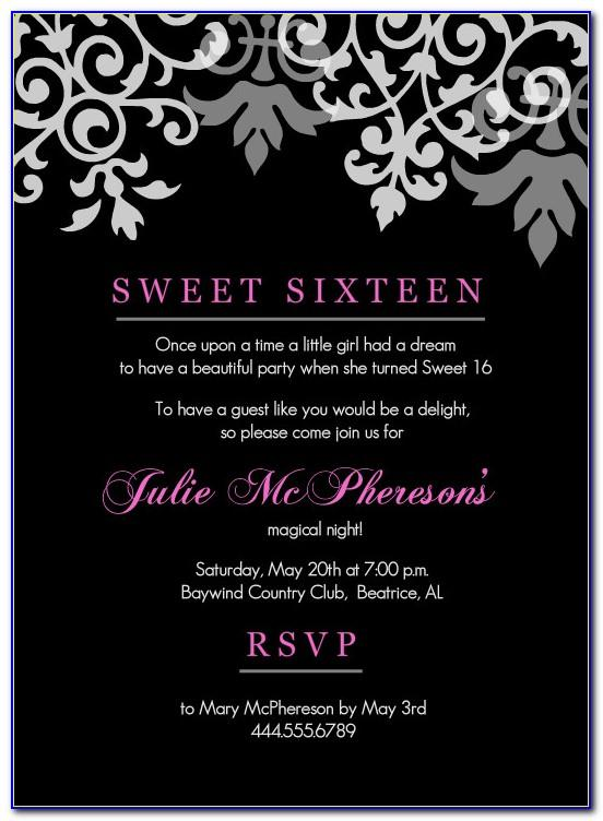 Sweet 16 Invitation Templates Free