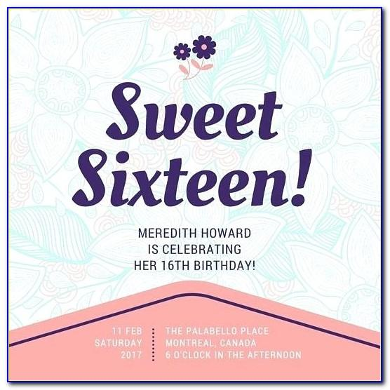 Sweet 16th Birthday Invitation Templates