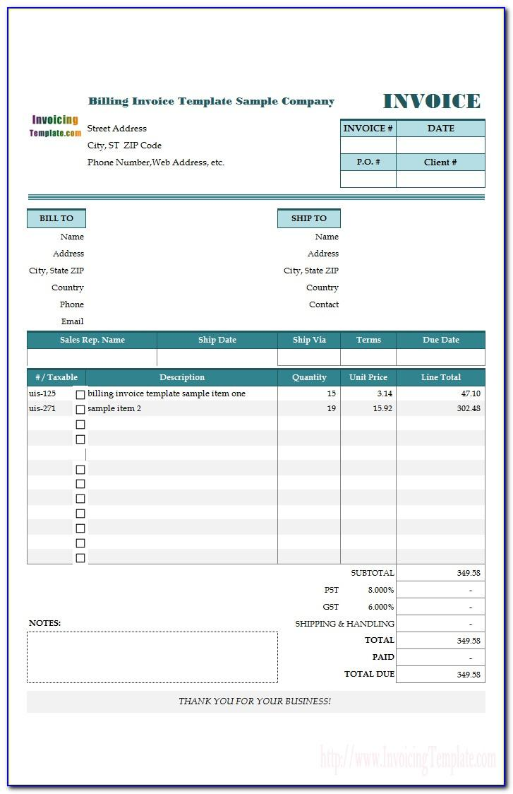 Template For Billing Invoice