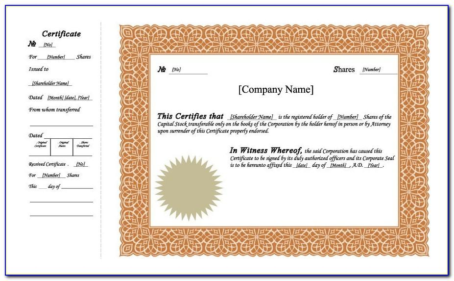 Template For Stock Certificate Word