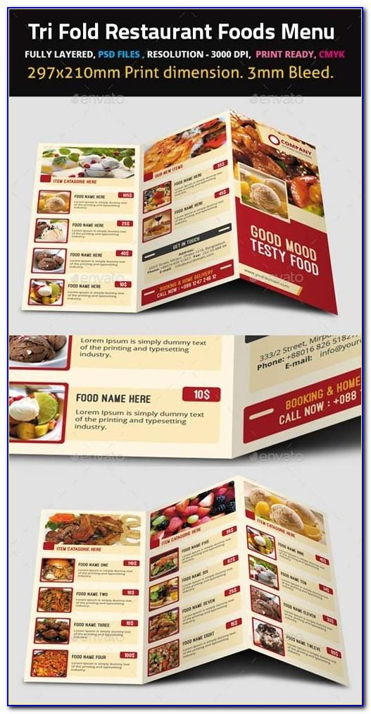 Tri Fold Restaurant Menu Templates