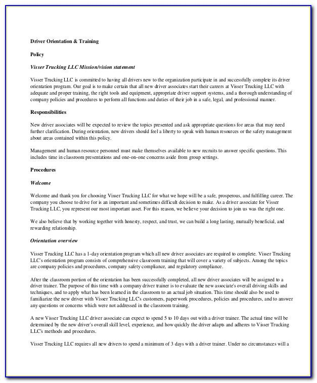 Trucking Policy And Procedures Template