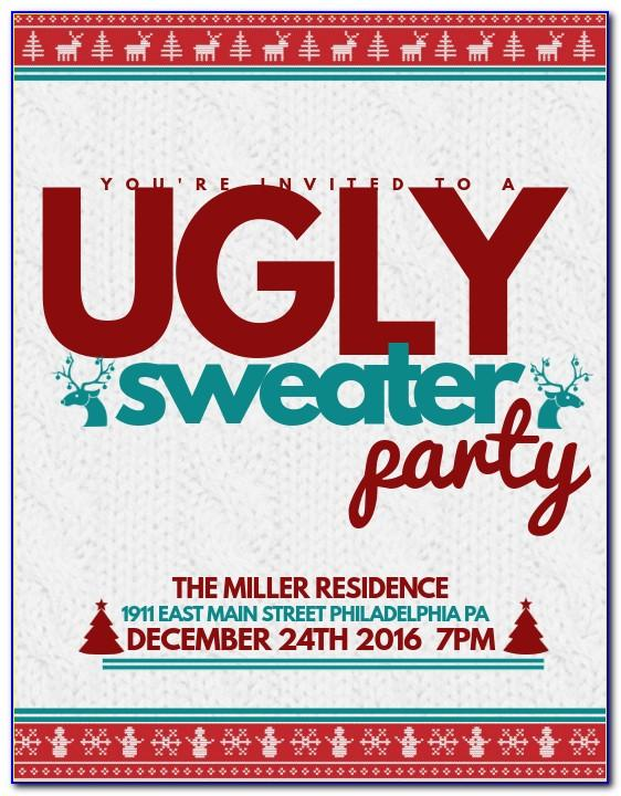 Ugly Christmas Sweater Party Invite Template