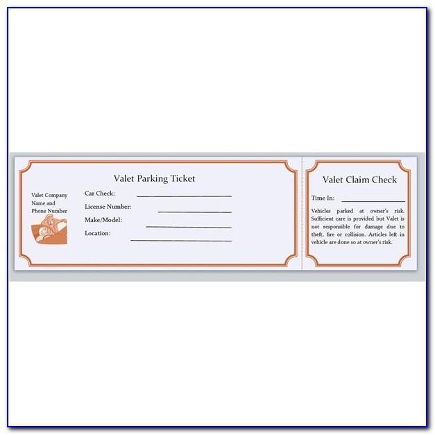 Valet Parking Tickets Templates