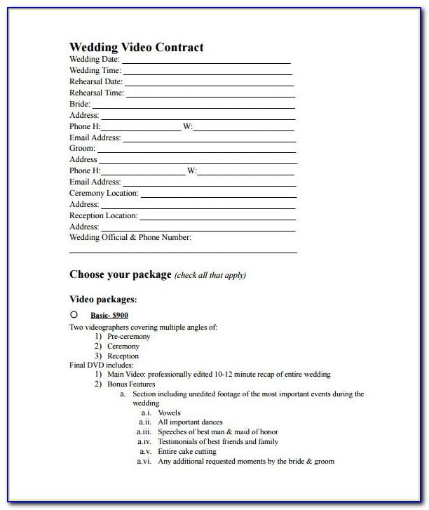 Videography Contract Template Uk