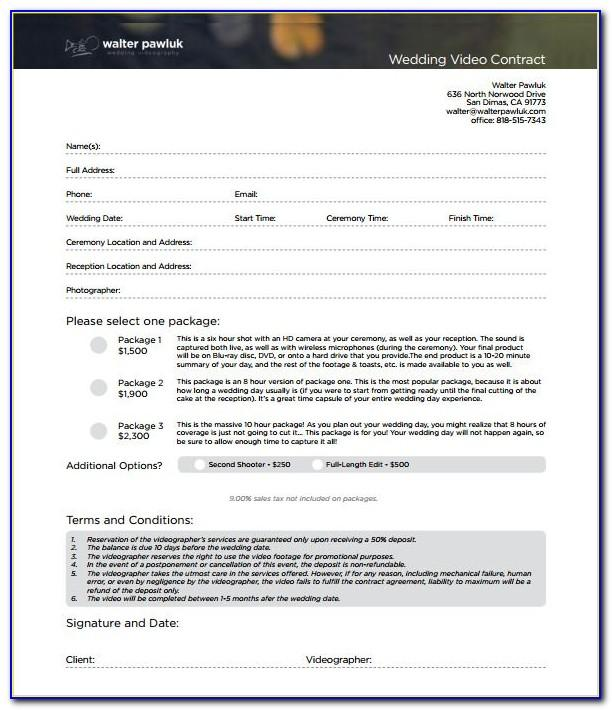 Videography Contract Template Word