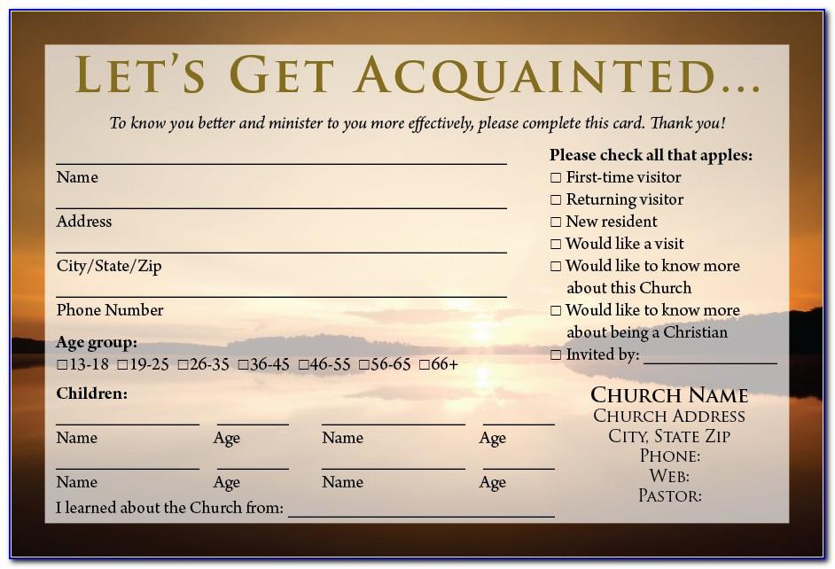 Visitor Card Template Church