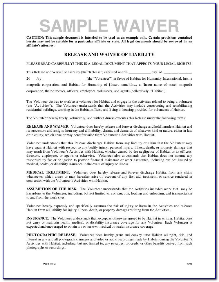 Volunteer Liability Waiver Form
