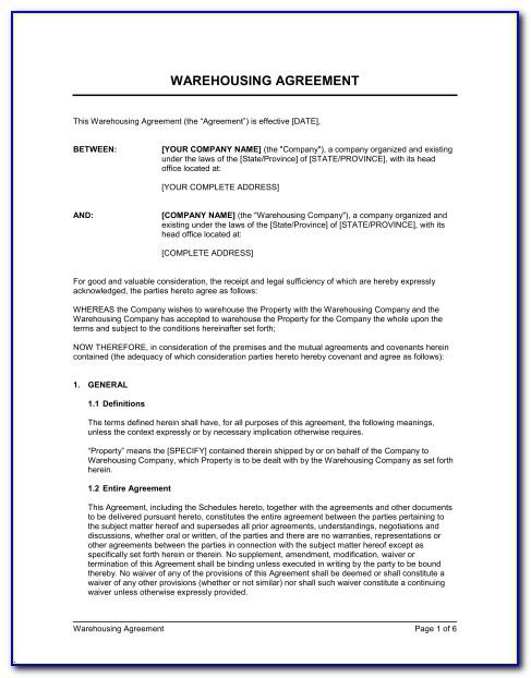 Warehouse Agreement Template