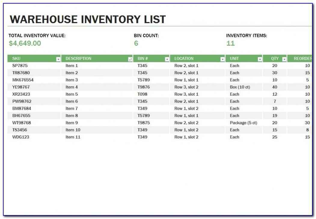 Warehouse Template Excel