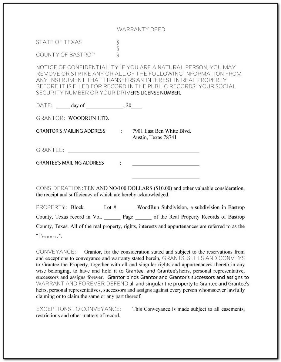 Warranty Deed Template Free