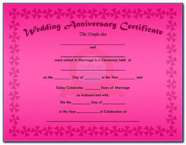 Wedding Anniversary Certificate Templates