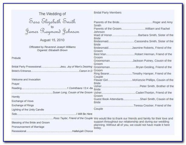 Wedding Bulletin Templates Word