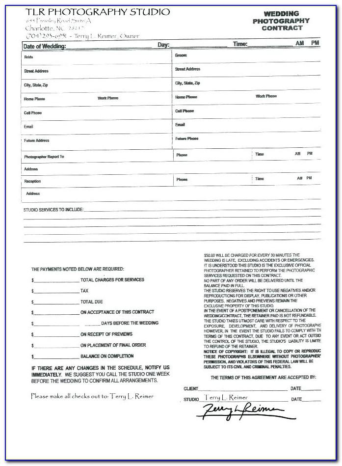 Wedding Flower Contract Form
