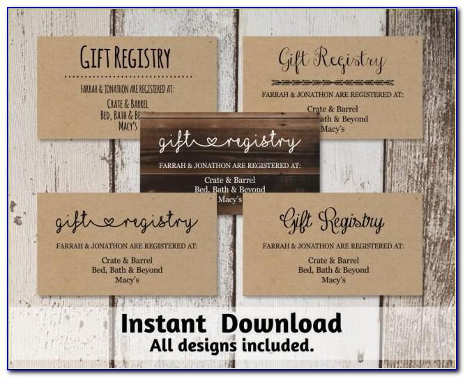 Wedding Gift Registry Card Template