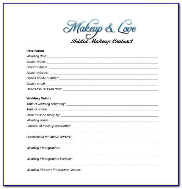 Wedding Makeup Contract Template Free