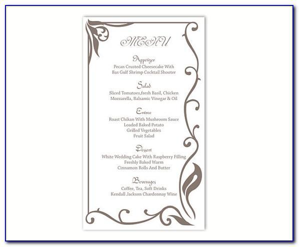 Wedding Menu Template Word Document