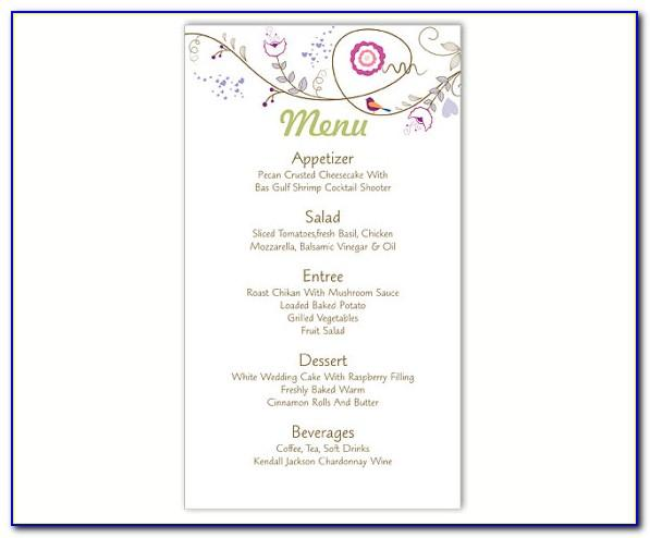 Wedding Menu Template Word Free