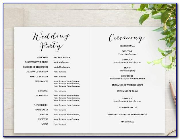 Wedding Programs Templates Free Microsoft Word