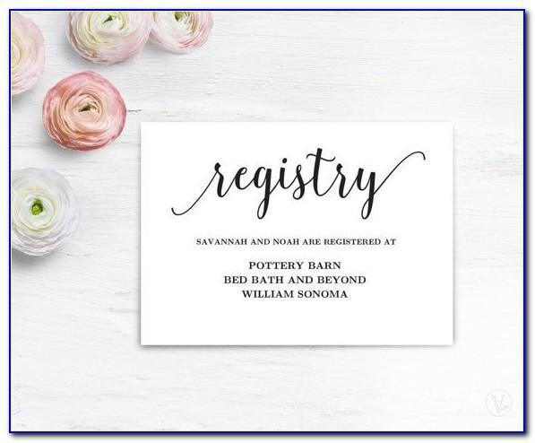 Wedding Registry Card Template Free
