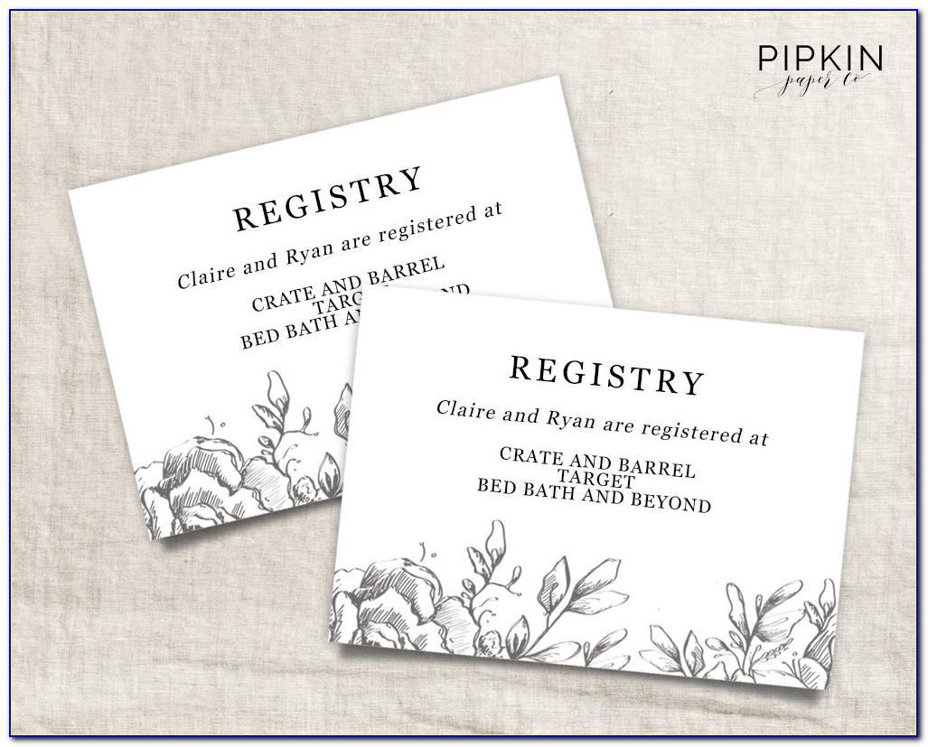 Wedding Registry Insert Card Template