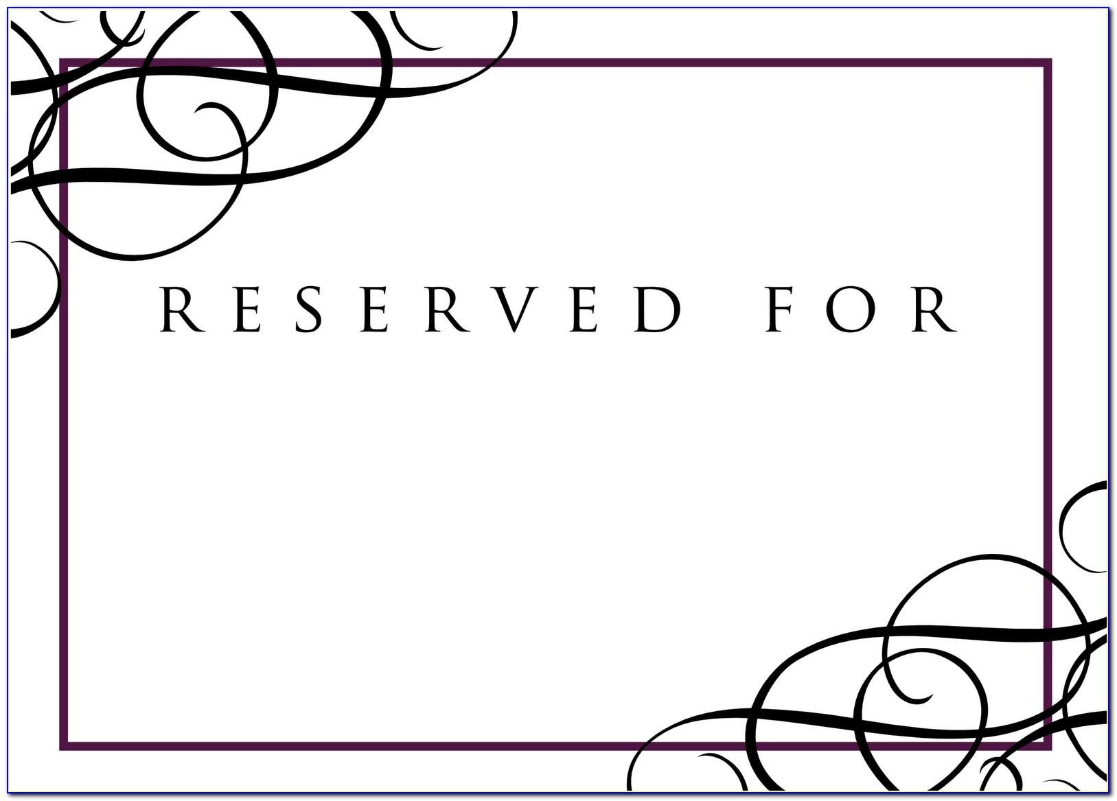 Wedding Reserved Seat Signs Printable Free